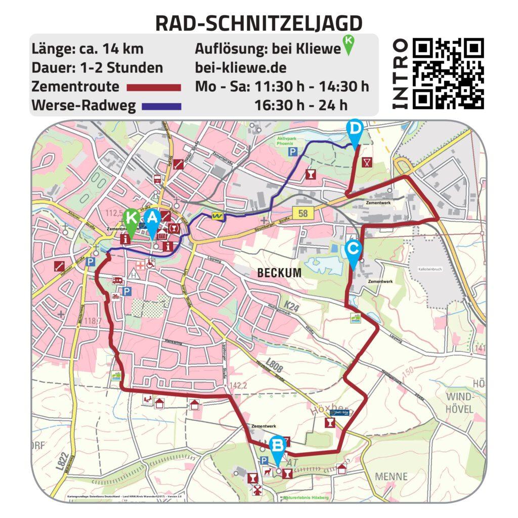 Zu sehen ist eine Karte auf der eine Radtour eingezeichnet ist.