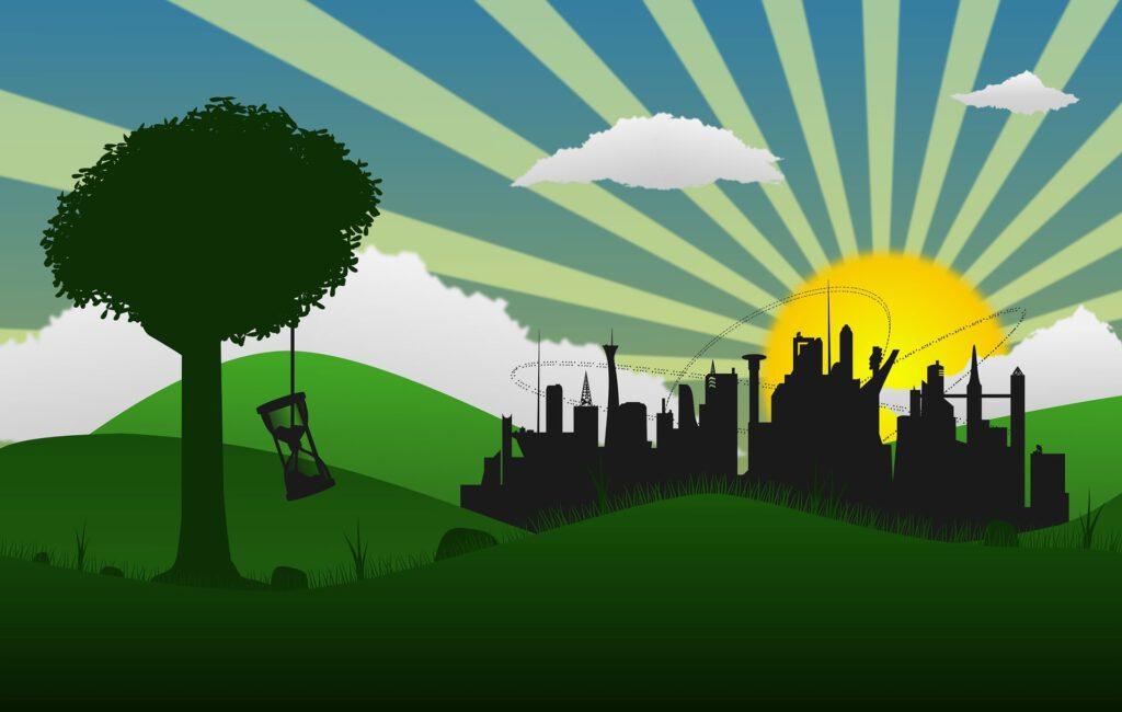 Eine Grafik zum Thema nachhaltige Stadt.