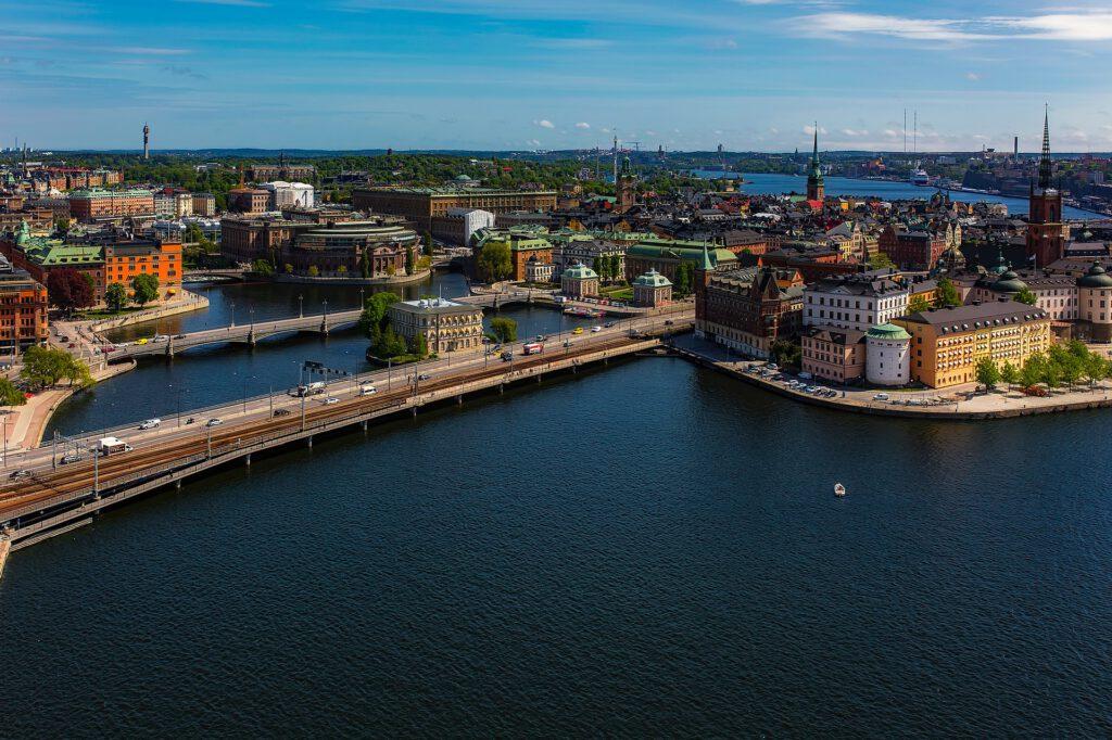 Zu sehen ist eine Stadtansicht von Stockholm.