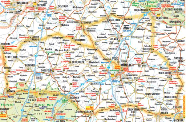 Zu sehen ist die auf der Basis einer Skizze ausgearbeitete Wohnmobil Tourenkarte vom ADAC Westfalen.