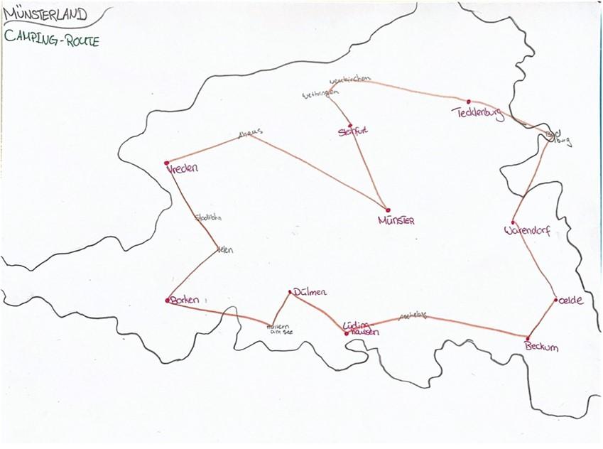 Zu sehen ist eine Skizze der Wohnmobil Route durch das Münsterland.