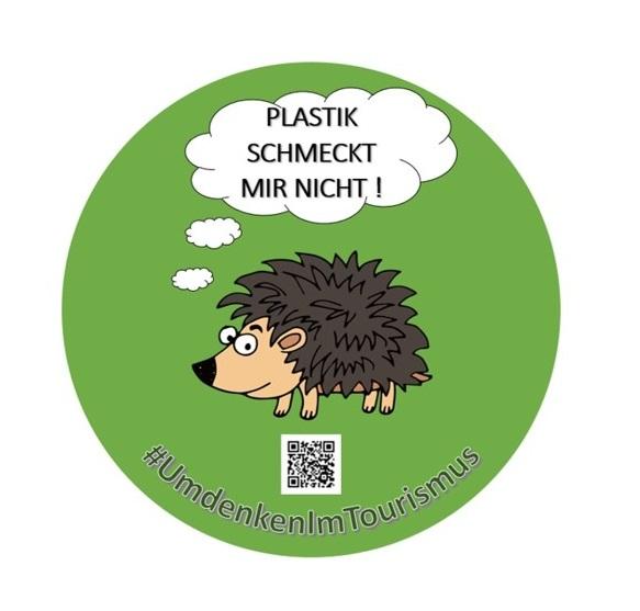 """Zu sehen ist ein Sticker mit einem gezeichneten Igel und einer Sprachblase in der Steht: """"Plastik schmeckt mir nicht."""""""